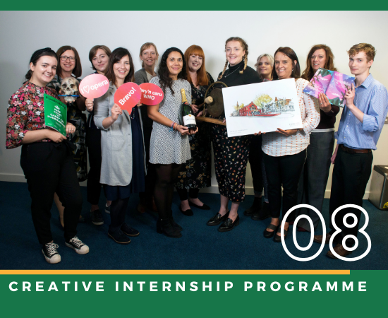 Millie and other creative interns, along with their arts mentors on the internship induction day.
