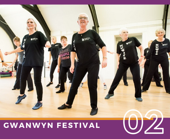 Women from Rubicons over 50s dance group, Nu Wave, dancing during a workshop at our Gwanwyn dance day.