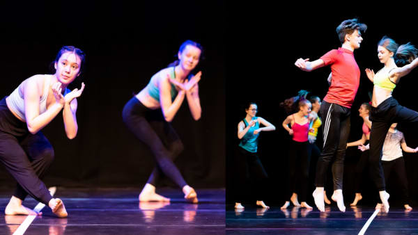 Images showing GCSE students dancing in colourful clothes at Rubicons most recent Schools Dance Festival.