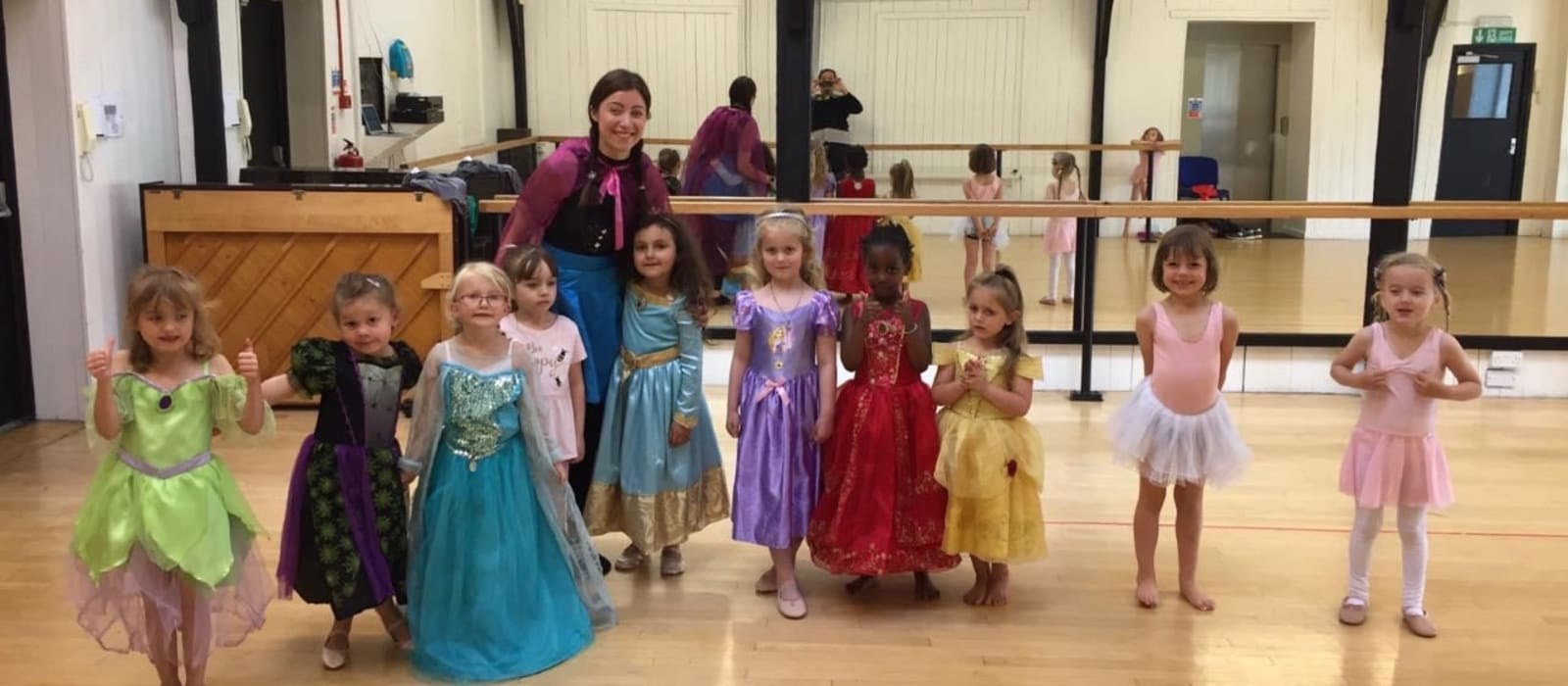 Dance leader Lucy with her Saturday morning ballet class in their fancy dress, ready for the danceaton.